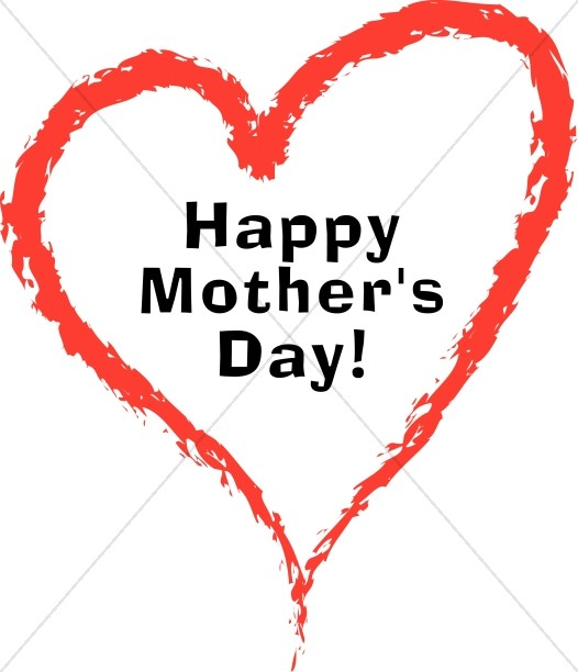 happy mother s red painted heart mothers day word art