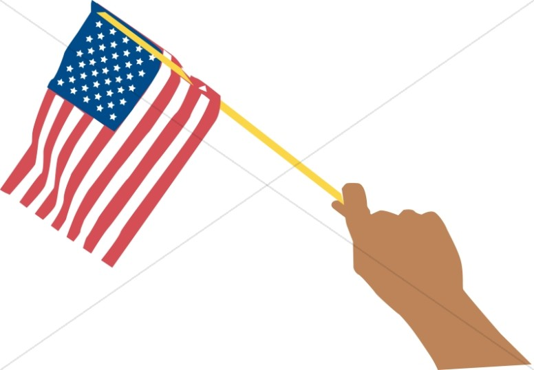 Hand Waving American Flag