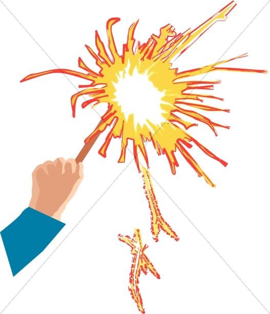 Hand Holding Burning Sparkler