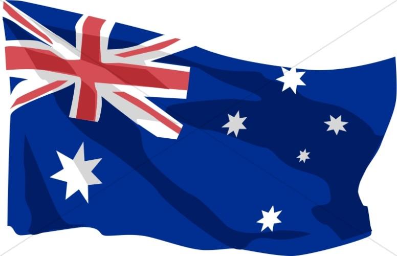 Australian Flag in the Wind