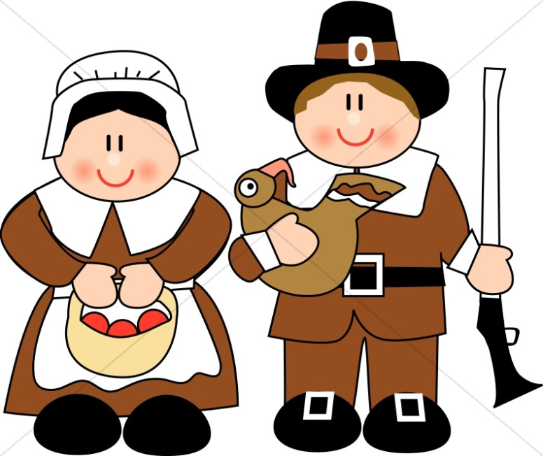 Cute Pilgrim Couple | Thanksgiving Clipart