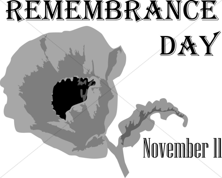 Grayscale Remembrance Day with Poppy