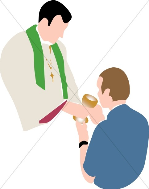 Man Receiving Communion Wine