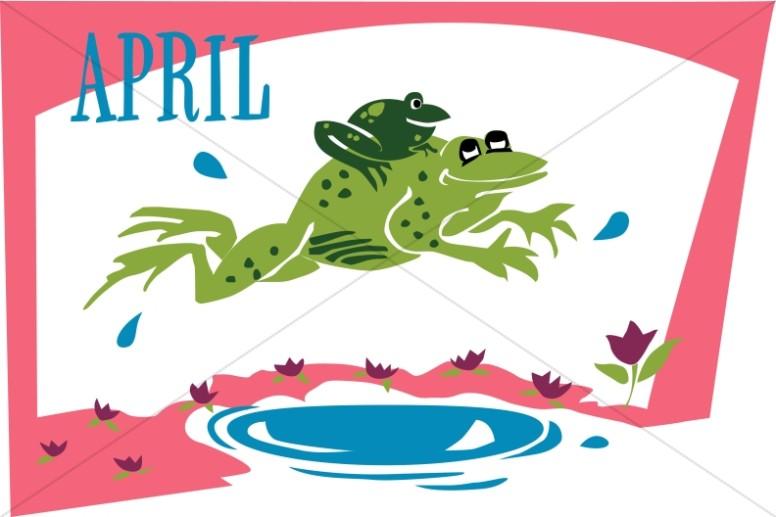 April Calendar Graphics : Jumping froggies in april