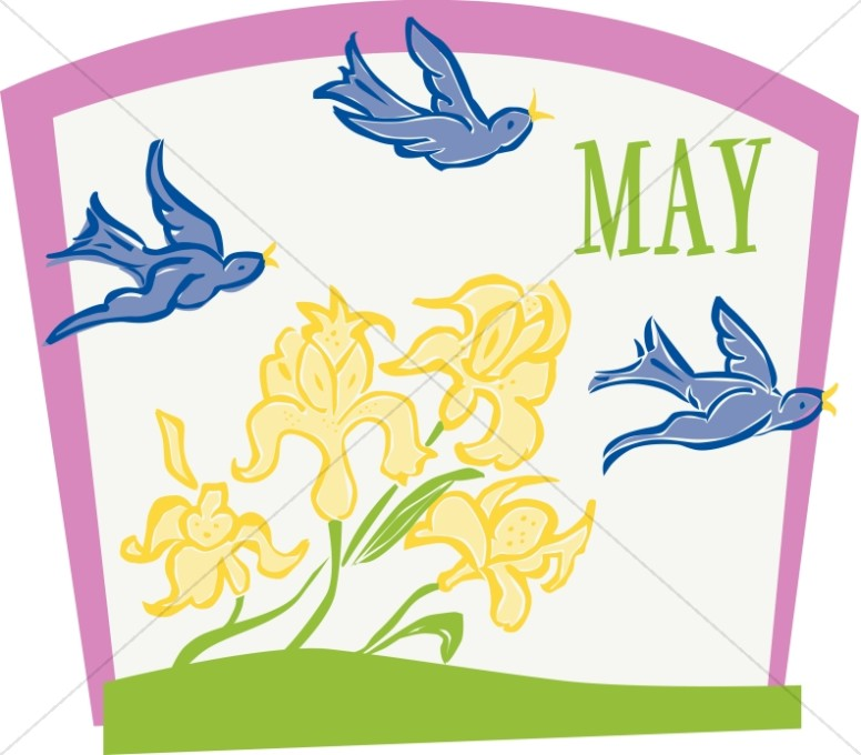 Flying Birds and Flowers in May