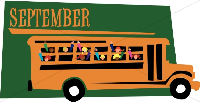Kids in a Schoolbus in September