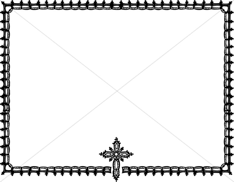 ornate black and white cross horizontal frame religious borders rh sharefaith com Corner Borders Border Clip Art