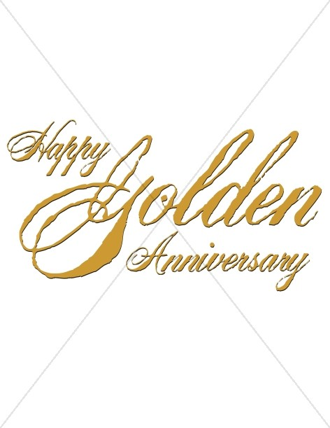 Golden Anniversary Script with Antique Effect