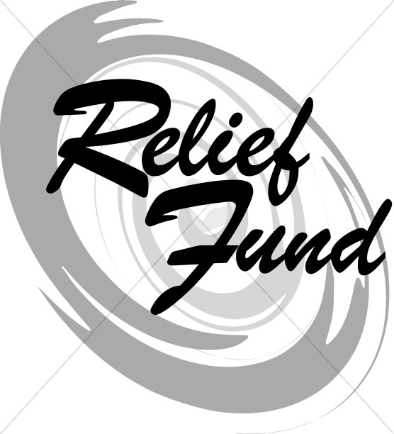Relief Fund Script over Gray Hurricane