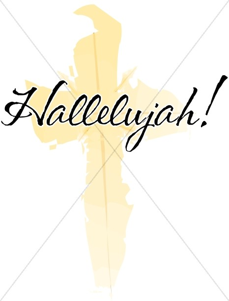 Hallelujah with Brushstroke Yellow Cross