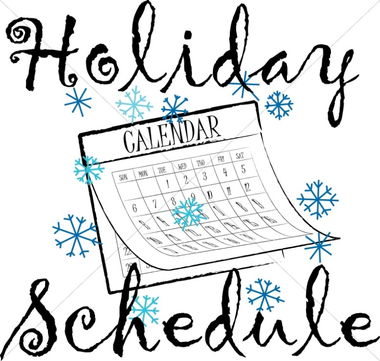 Winter Holiday Schedule Calendar