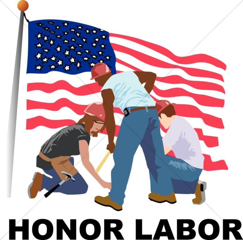 Honor Labor with Workers and Flag