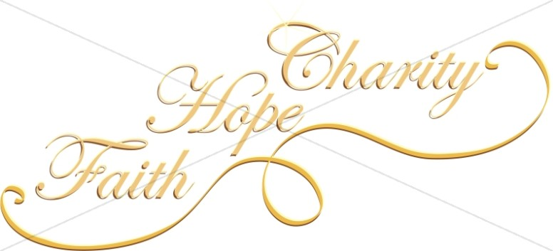 Faith, Hope and Charity in Gold