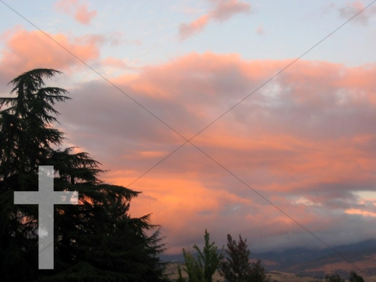 Sunset Clouds with Cross Watermark
