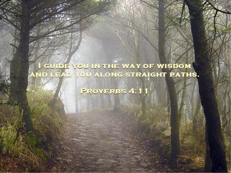 Inspirational Path in the Woods and Quote from Proverbs
