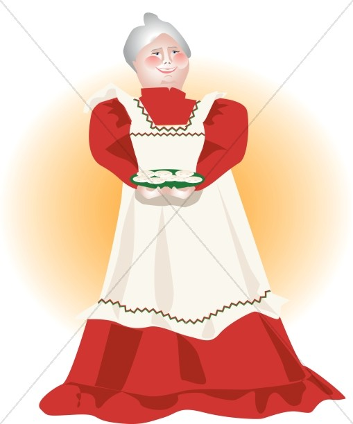 Mrs. Clause Holding Cookies