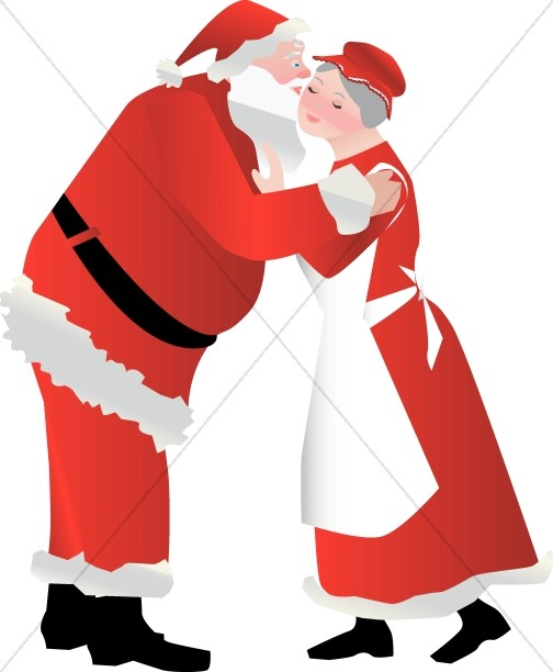 santa kissing mrs claus religious christmas clipart rh sharefaith com mrs claus clipart free free santa and mrs claus clipart