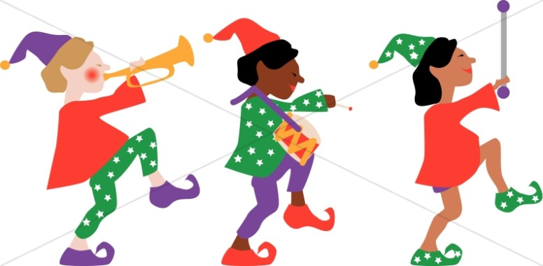 three elves marching traditional christmas decoration clipart rh sharefaith com marching band clipart silhouette ants marching clipart