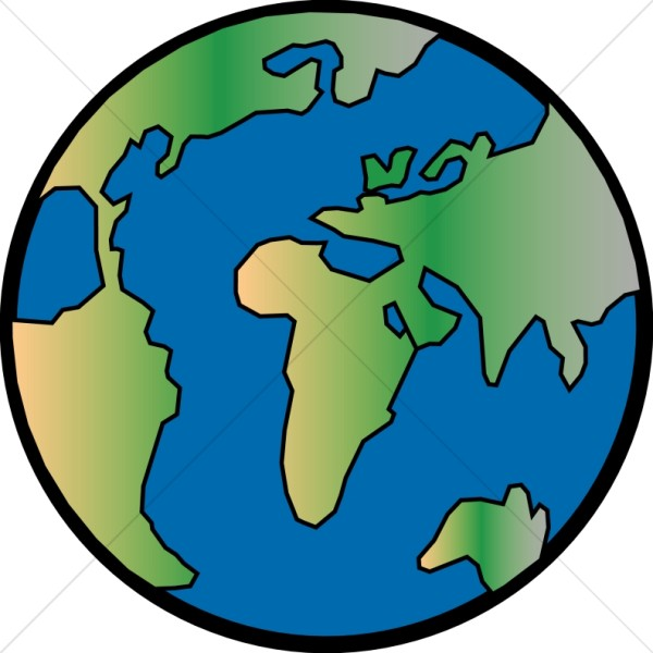 Gradient Globe with Black Outline