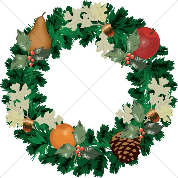 Christmas Wreath with Fall Fruit
