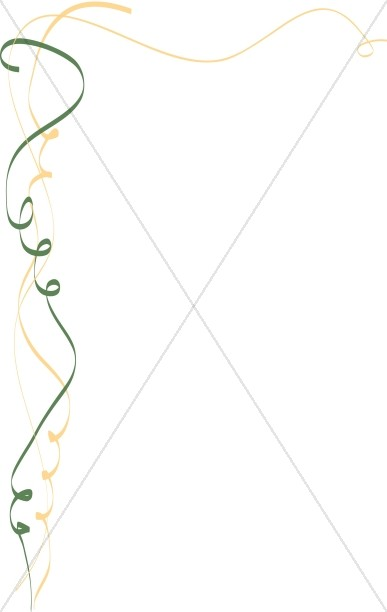 Green and Gold Whimsical Ribbon