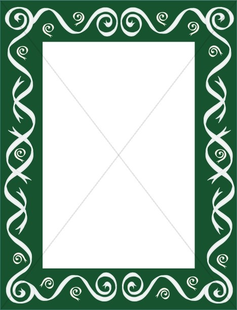Thick Green Frame with White Ribbons