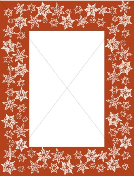 White Snowflakes Overlaying Red Frame