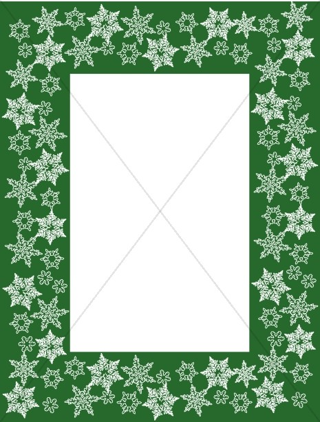 Thick Green Frame with White Snowflakes