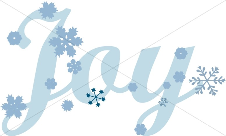 Blue Joy Text with Snowflakes