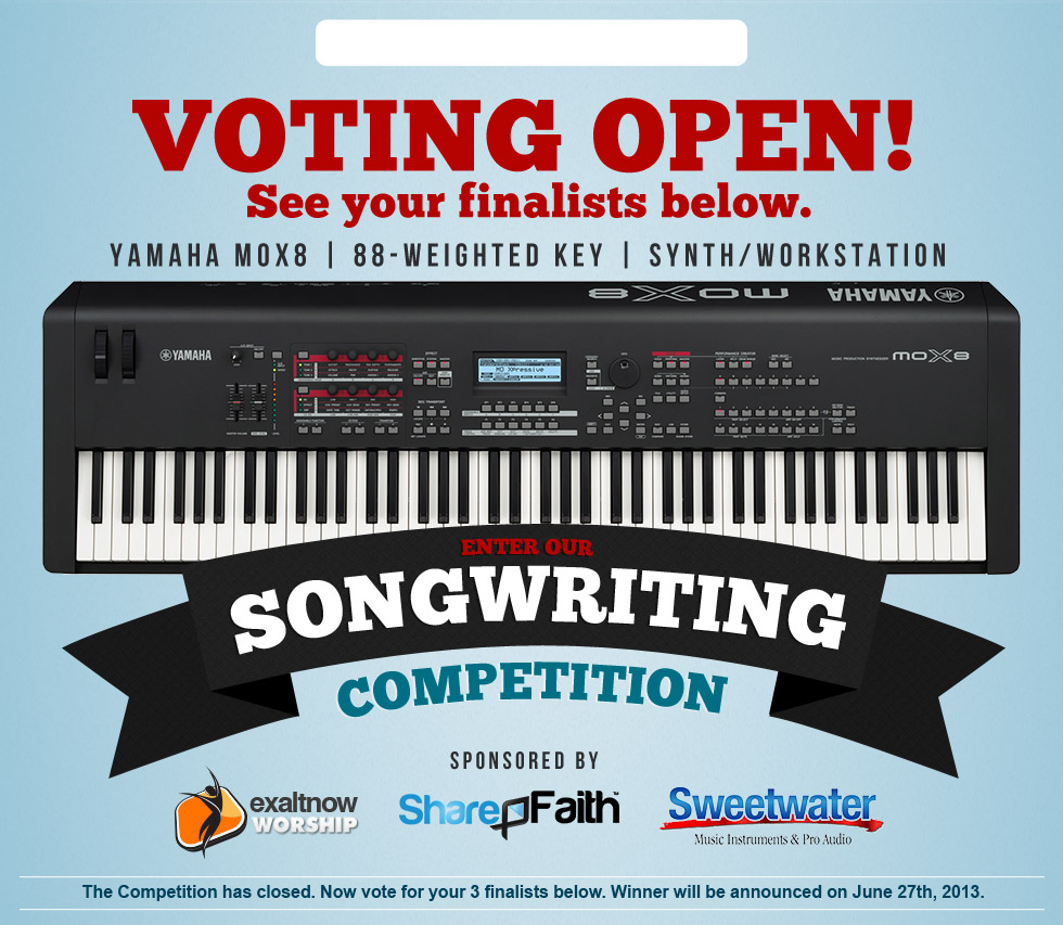 Voting Open! Vote for your favorite finalist. Win this YAMAHA MOX8 88 Weighted Keyboard
